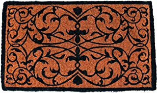 """Entryways Iron Grate Rectangle Extra Thick Handmade, Hand-Stenciled, All-Natural Coconut Fiber Coir Doormat 18"""" X 30"""" X 1.5"""""""