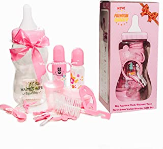 New Aurora Pink Walnut Tree New Born Growing Up with Me Starter Gift Set BPA Free   Includes a Meal Set, Teething Toys, Bottles, Cleaning Brush, and Milk Bottle Piggy Bank (Princess Pink)