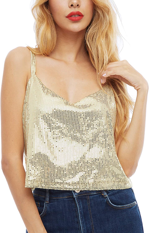 SATINIOR Women's Genuine Sequined Camisole Shining Credence Crop Top Shim Glitter