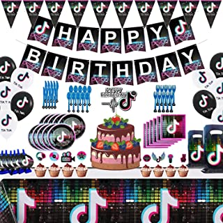 Set of 137Pcs Tik Tok Party Decorations and Birthday Supplies Includes Balloons Kit Gags Plates and Napkins package for Gi...