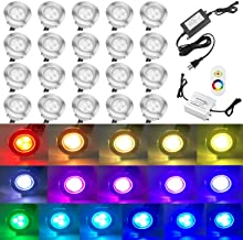 QACA 20pcs Low Voltage LED Deck Lights Kits Multi-Color RGB Stainless Steel Waterproof Outdoor Yard Garden Recessed Wood Decoration Lamps Landscape Pathway Patio Step Stairs LED In-ground Lighting