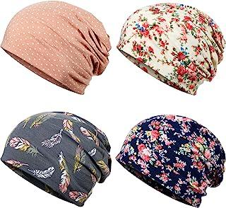 4 قطع من SATINIOR مطبوعة عمامة عصابة رأس قطنية ناعمة النوم قبعة مترهلة بونيه قبعة عمامة قبعة صغيرة للنساء
