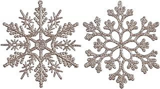 Sea Team Plastic Christmas Glitter Snowflake Ornaments Christmas Tree Decorations, 4-inch, Set of 36, Champagne