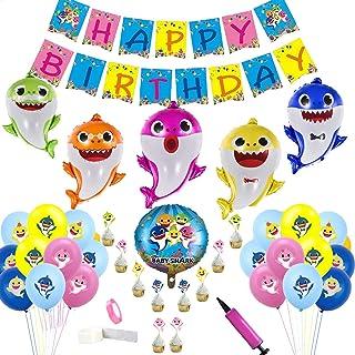 Globos de tibur/ón Yisscen Suministros de decoraciones para fiestas de Baby Shark Globos de l/átex de 100 piezas para la fiesta de cumplea/ños de los ni/ños//fiesta tem/ática del oc/éano Multicolor