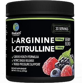 L-Arginine 5000mg + L-Citrulline 1000mg Complex Powder Supplement - Nitric Oxide Booster - Blood Pressure Support - Berry ...