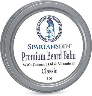 Spartans Den Premium Beard Balm For Men | Coconut Oil & Vitamin E Infused | Best Conditioner For Grooming, Growth, Soften, Itch & Tame - Classic Scent 2oz