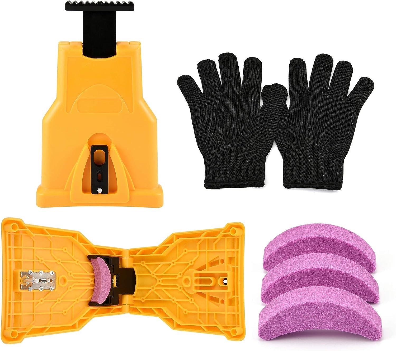ACBungji Afilador de dientes de motosierra con 3 piezas de piedra de afilar y 1 par de guantes para trabajos de madera, motosierra, afilador de cadena, autoafilante, rápido trabajo de madera