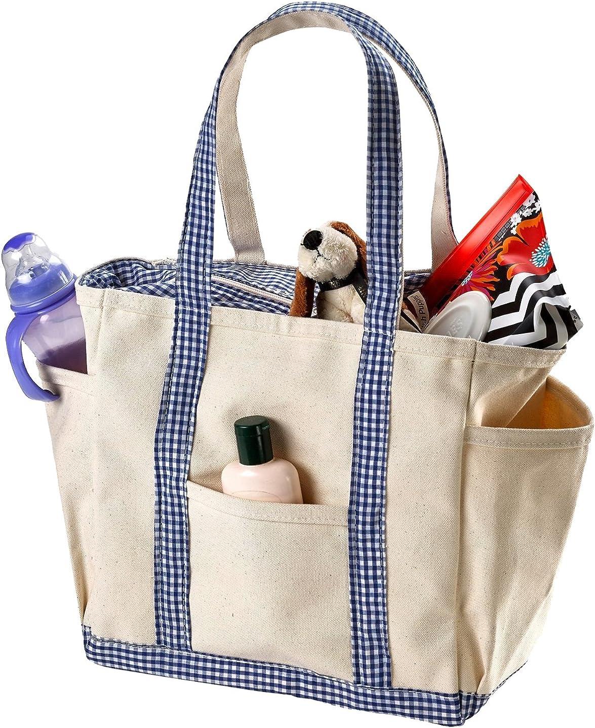 Canvas Baby Diaper Bag - Side Pockets, Shoulder Handles and Zipper Closure.