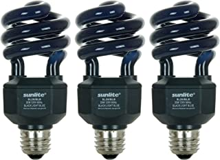 Sunlite 05645-SU CFL Black Bulb (BLB), Halloween Lighting, Spiral Blacklight, 20 Watts, 120 Volts, Medium Base (E26), 463nm, UL Listed, 3 Pack, Blue, 3