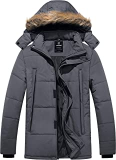 Men's Puffer Winter Warm Quilted Jacket Outwear with Removable Hood