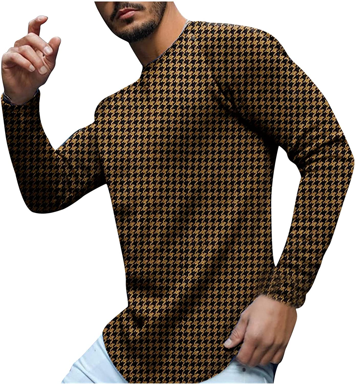 xoxing Men's Autumn Slim Casual Plus Size Swallow Gird Print Long Sleeve Tops Crew Neck Loose T-Shirt Blouse Pullovers
