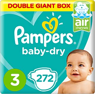 Pampers Baby-Dry Diapers, Size 3, Midi, 5-9 kg, Double Giant Box, 272 Count