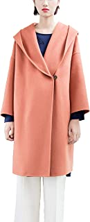URLAZH Womens Pink Wool Blend Hood Cape Open Lapel Double Breasted Single Button Trench Peacoat Warm Winter Overcoat