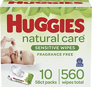 Baby Wipes, Huggies Natural Care Sensitive, UNSCENTED, Hypoallergenic, 10 Flip-Top Packs, 560 Count