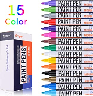 Acrylic Paint pens, EKKONG Permanent Paint Markers for Rock, Wood, Metal, Plastic, Glass, Canvas, Ceramic & More! Medium Tip with Quick Dry, Water Resistant Ink(15 Pack)