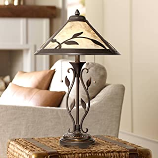 Feuille Rustic Table Lamp Metal Openwork Leaf Accents Mica Shade for Living Room Family Bedroom Bedside Nightstand - Franklin Iron Works