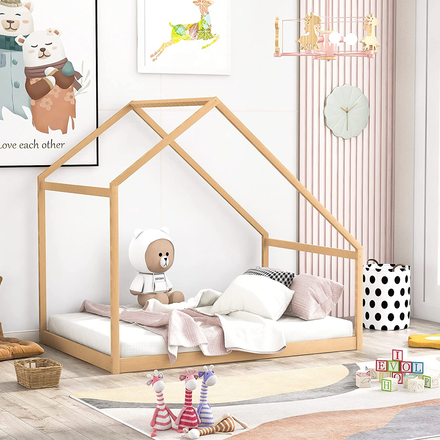 House Bed Frames Attention brand with Roof for Kids Teens or Wood Girls Boys Max 89% OFF