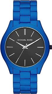 Men's Slim Runway Quartz Watch with Stainless Steel Strap, Blue, 22 (Model: MK8760)