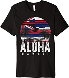 Retro Aloha Hawaii Flag Hawaiian Island Vintage Men Women Premium T-Shirt