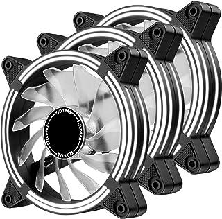 EZDIY-FAB Ventilateur LED Blanc 120 mm, Ventilateur LED à Double Cadre pour boîtiers PC, Haut débit d'air Silencieux Refro...
