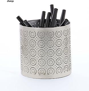 """Deco 79 57335 Lattice-Pattern Iron Pencil Can, 4"""" x 4"""", Gray"""