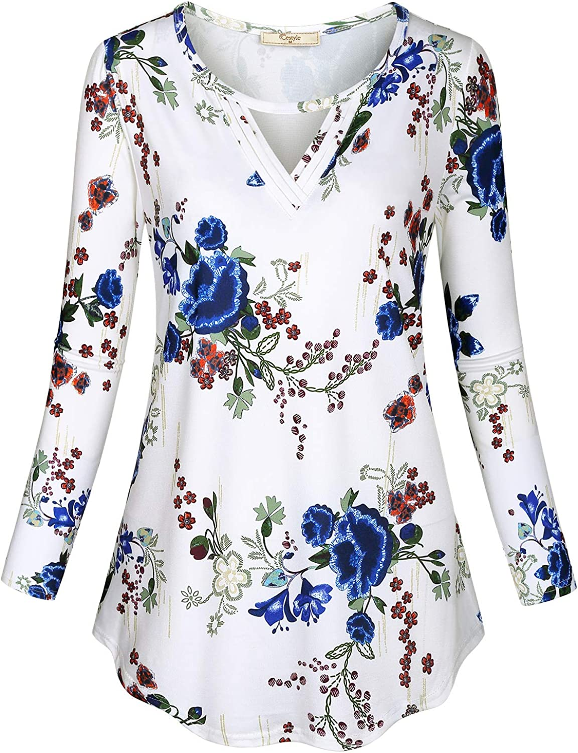 Cestyle Womens Crew Neck Long Sleeve Shirt Front Keyhole Casual Dressy Tunic Top