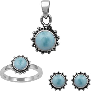 925 Sterling Silver 6 mm Round Larimar Gemstone Ring Stud Pendant Set Wedding Jewelry