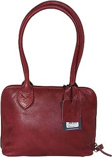 Leather Guild Design Studio Pell Mell Flora Red Leather Shoulder Purse Bag