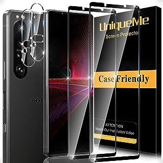 [2 + 2-pack] UniqueMe skärmskydd kompatibelt med Sony Xperia 1 III härdat glas och 2-pack kameralinsskydd, [3D full täckni...