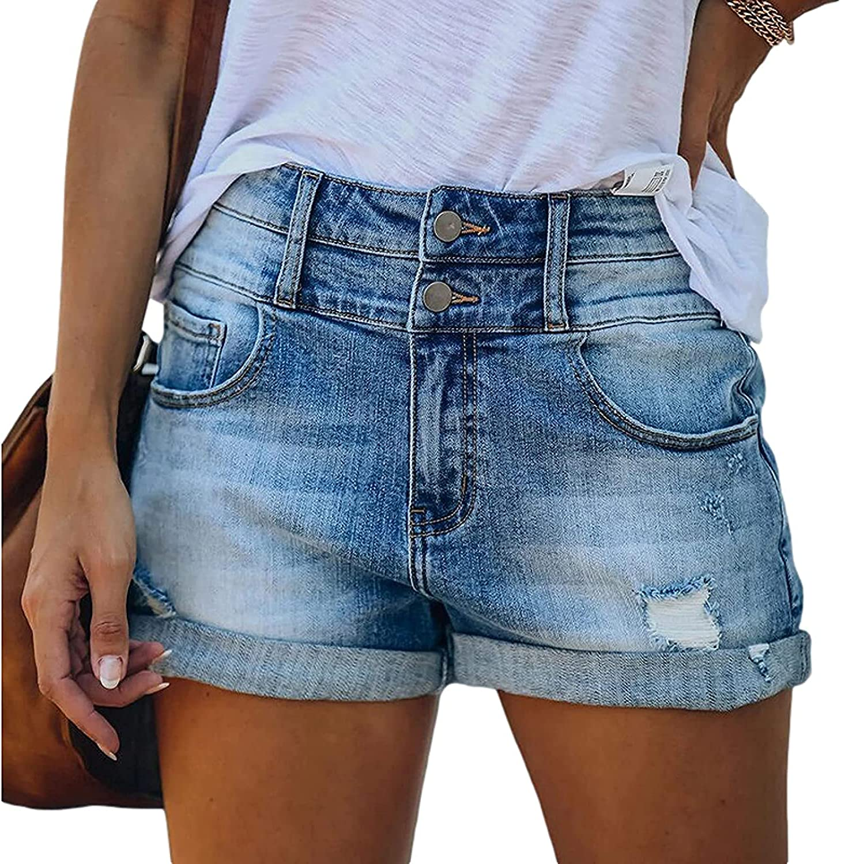CHENX1NN Ladies Summer Trend Ripped Denim Shorts Fashion High Waisted Curled Comfortable