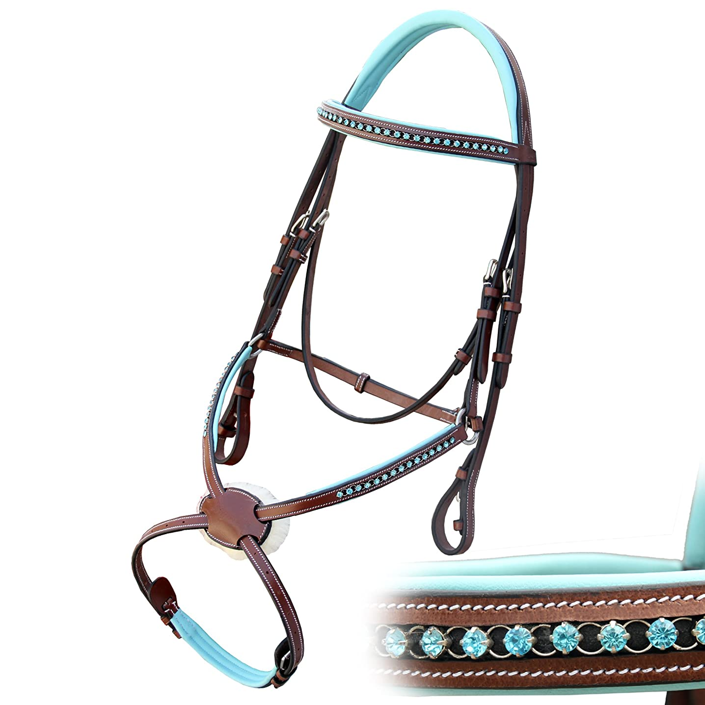 Exion Blue Round Ring Diamond Figure 8 Leather Bridle with PP Rubber Grip Reins and Stainless Steel Buckles | Equestrian Show Jumping Padded Bridle Set | English Horse Riding Premium Tack