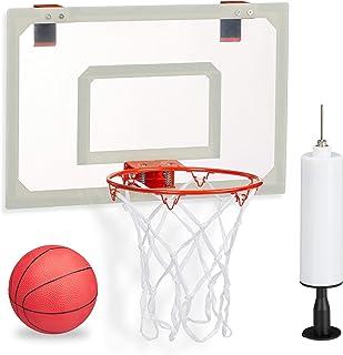Relaxdays Cesta de Baloncesto Unisex para jóvenes, Juego con Pelota y Bomba de Aire, para Colgar en la Puerta, sin taladrar, Blanco/Rojo, Alto x Ancho x Profundidad: Aprox. 45 x 45 x 33 cm.