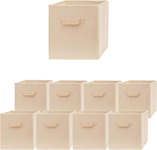 Pomatree Storage Cubes - 9 Pack - Durable and Sturdy Storage Bins with 2 Reinforced Handles | Fabric Cube Baskets for Organizing Closet, Clothes and Toys | Foldable Shelves Organizer (Beige)