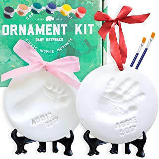 Best Baby Ornament Keepsake Kit (NEWBORN BUNDLE) 2 EASELS, 4 RIBBONS & LETTERS! Baby Handprint Kit and Footprint Kit, Clay Casting Kit for Baby Shower Gifts, Boys & Girls Reviews