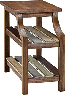 Ball & Cast Three Shelf End Table - Distressed Brown