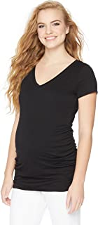 Motherhood Maternity Women's Maternity Short Sleeve V-Neck Side Ruched Tee Shirt
