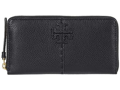 Tory Burch McGraw Zip Continental Wallet (Black) Handbags