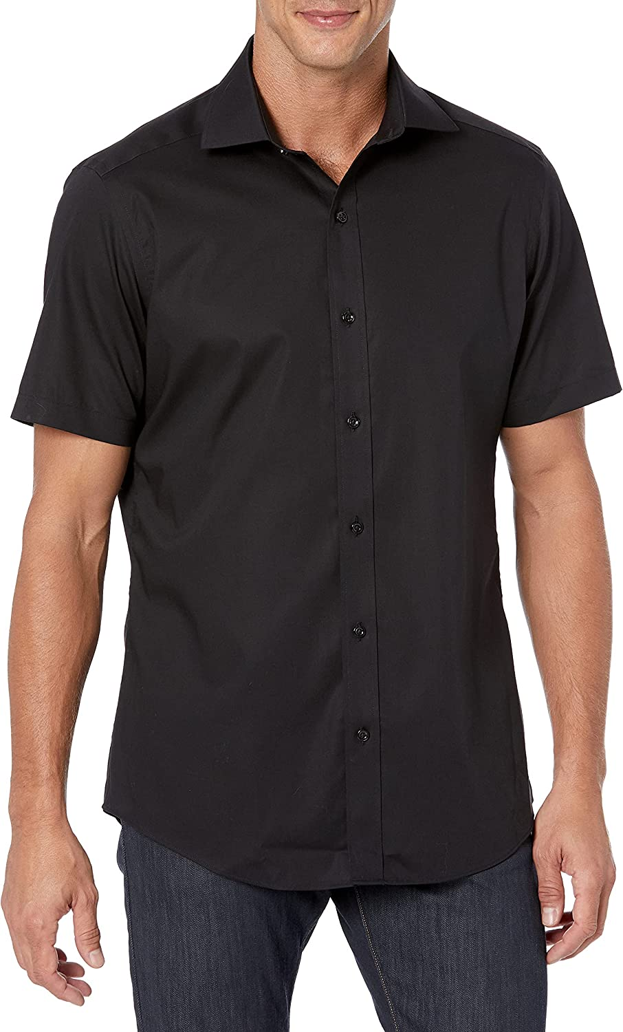 Buttoned Down Men's Tailored Fit Spread-Collar Short-Sleeve Stretch Shirt, Supima Cotton Non-Iron