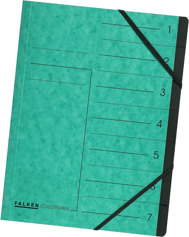 Falken Colorspan Index Folder Green Fächer Max 86% OFF Compartments 7 35% OFF