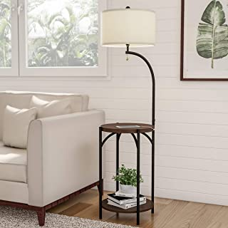 Lavish Home Floor Lamp End Table- Modern Rustic Side Table with Drum Shaped Shade, LED Light Bulb Included, USB Charging P...