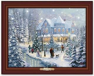 Thomas Kinkade A Christmas Homecoming Musical Canvas Print Wall Decor Lights Up with Snowfall Effect