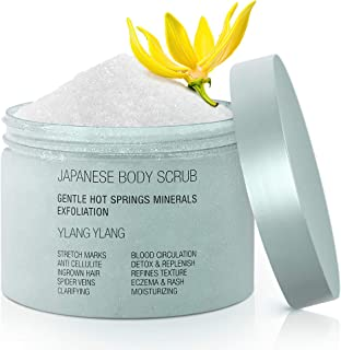 Onsen Ylang Ylang Exfoliating Body Scrub, Dead Sea Salt with Natural Japanese Hot Spring Minerals, Coconut Oil, Jojoba Oil...