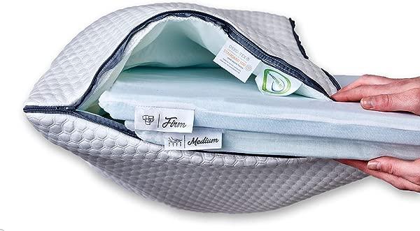 可调层枕头与煎饼枕头设计北极层舒适叠枕和记忆泡沫支撑 1