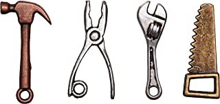 Solid Oak Carpenter Tools Steampunk Metal Accents (4 Pack)