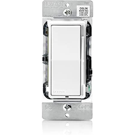 Leviton DSL06-1LZ Decora Universal Rocker Slide Dimmer 300-Watt LED and CFL/600-Watt Incandescent, 1-Pack, White/Ivory/Light Almond