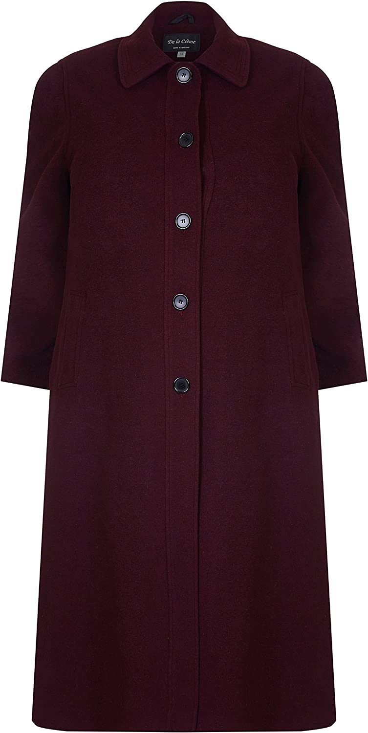 De la Creme David Barry  Women's Single Breasted Wool and Cashmere Blend Long Winter Coat