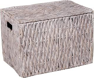 Borras Hnos - Baul Fibra Vegetal patinado Blanco. (Color: Blanco Tamaño: 47x30x30)