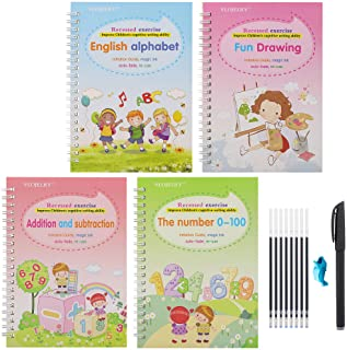 English Magic Practice Copybook, Magic Calligraphy That Can Be Reused Handwriting Copybook Tracing Book Set for Kid Callig...