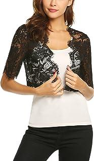 Dealwell Womens Short Sleeve Floral Lace Cropped Shrug Bolero Cardigan