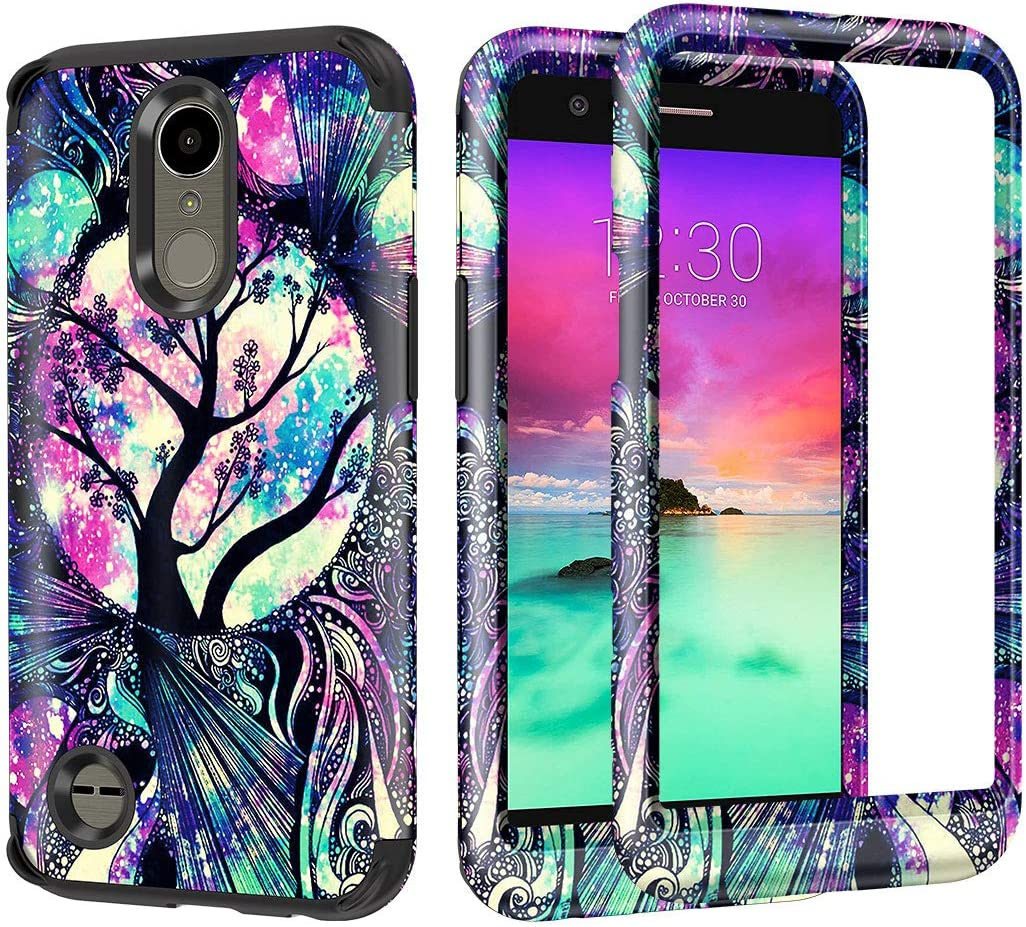 Lamcase for LG K10 2017, LG K20 Plus, LG Harmony Case Shockproof Three Layer Hard PC & Flexible Silicone High Impact Durable Bumper Protective Cover for LG K10 2017/LG K20 Plus/LG Harmony, Life Tree
